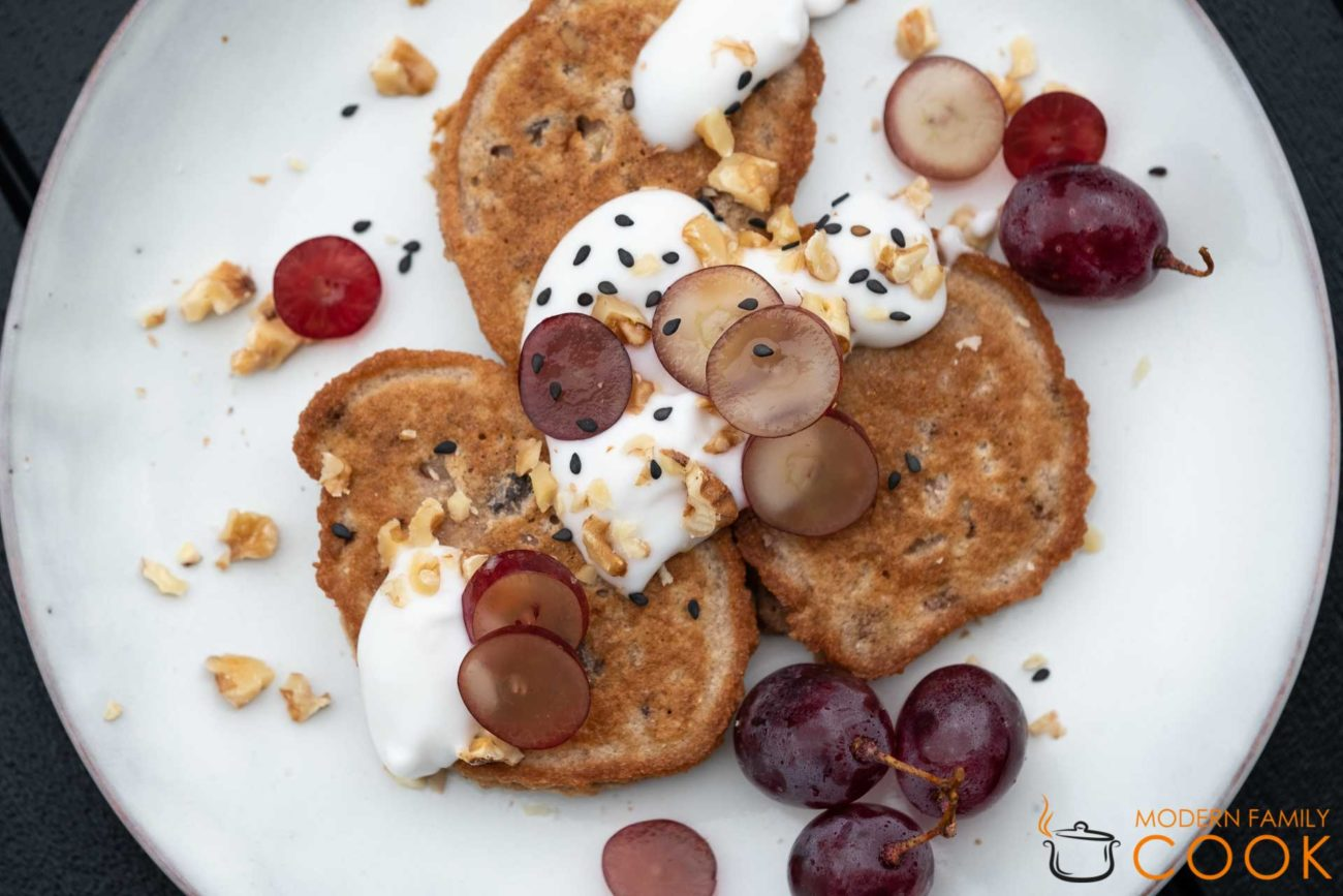 Coconut flour pancakes with walnuts and raisins (sugar-free, gluten-free and dairy-free)